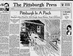 """Google's Hidden Historical Newspapers: A 1933 issue of """"The Pittsburgh Press"""" relives the city's Butcher's Run flood of 1874."""
