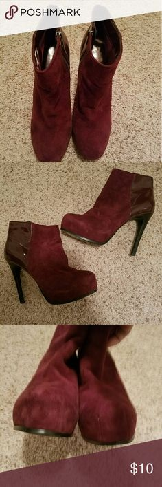 Platform Booties Very popular burgundy color booties. These are pre-loved but are now for someone else! Take them off my hands please! Bakers Shoes Ankle Boots & Booties