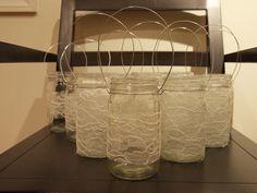 Lace-Covered Mason Jars