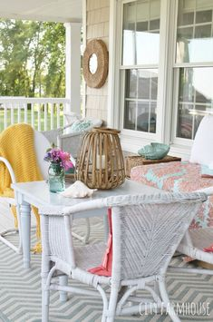 Summer Tour-Farmhouse Porch-vintage coastal décor all on a budget