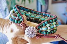 Reversible CZECH TURQUOISE Leather by BraceletsofBlueRidge on Etsy, $82.00