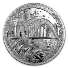 2017 Niue 2 oz Silver Proof Sydney Harbour Bridge High Relief with COA & Box