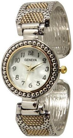 "053 Geneva Two Tone Bracelet Style Cuff Bangle Watch Exquisite Collections. $9.99. Quartz movement with analogue-display. Metal Cuff band. Metal bangle watch. Stainless Steel Back. Dial 1"" wide"
