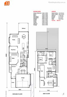 House Plans, Home Designs, Building Prices & Builders Two Storey House Plans, Modern House Floor Plans, Narrow Lot House Plans, Best House Plans, My Father's House, I Love House, Fun House, Floor Plan Layout, Storey Homes