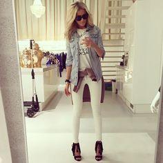 Jean jacket, white pants, black heels
