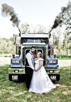I just Love a unique Wedding! Danny and Angie even had an aisle with two big rigs! It was definitely fun!    wedding, dress, big, rig, tractor, trailer, smoke