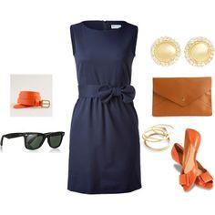 LOLO Moda: Navy dress with orange flat shoes & belt