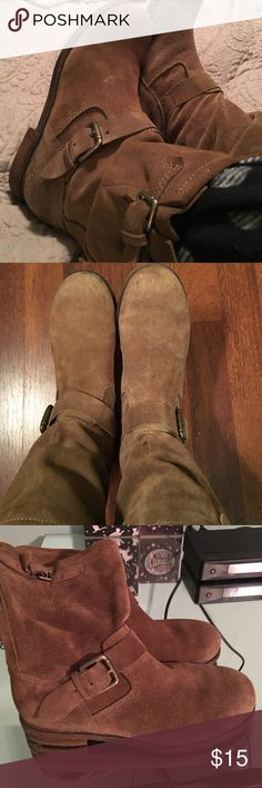 Guess suede boots Sized 7 1/2 but definitely fit an 8 to 8 1/2, non slip soles, cute buckle detail, priced to sell Guess Shoes Combat & Moto Boots