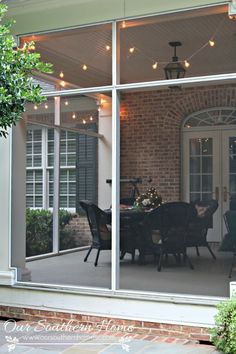 Decorating with string lights: Moss Sphere Tutorial with Our Southern Home Screened In Porch Diy, Back Porches, Front Porch, Southern Home Decorating, Decorating Ideas, Outdoor Rooms, Outdoor Living, Outdoor Lounge, Porch String Lights