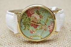 Floral Watch Vintage Style Leather Watch Women by BeautifulShow, $8.35 Fashion flower leather watch,the best gift of friendship.
