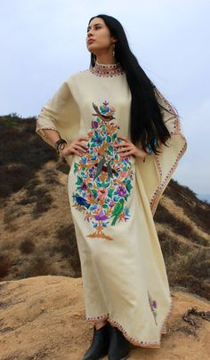 Stunning Example of Kashmir (Indian) Embroidery… Chain Stitched & Handmade Stunning! 100% FIne Wool Mandarin Collar Very Detailed Embroidery!!!