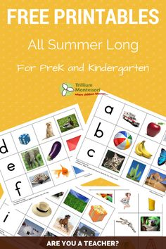 Free printables for PreK and K