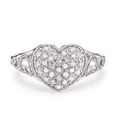 """This sweet and stunning heart-shaped ring sparkles with 1/3-ct. genuine diamonds.STERLING SILVERis the standard for fine silver jewelry in the world over. Only Sterling Silver can be stamped with a """"fineness mark"""" of .925 indicating its high quality."""