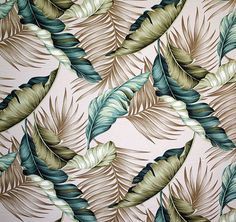"Banana Leaf design in color natural on base cloth of 100% cotton bark crepe. Repeat: H-22.5""; V-22.5"""