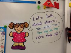 The Pre-Kindergarten students are learning to talk about the stories.