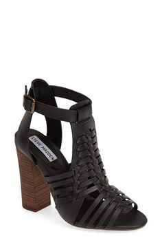 Free shipping and returns on Steve Madden 'Sandrina' Huarache Sandal (Women) at Nordstrom.com. Huarache-inspired straps add to the breezy, summer-ready attitude of a leather sandal set on a chunky stacked heel.