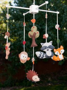 "Baby Mobile - Baby Crib Mobile - Woodland Mobile - Nursery Baby Room ""woodland…"