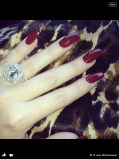 Love Khloe Kardashians nails <3 and of course her ring ! #bling #nails #red #longnails #acrylic