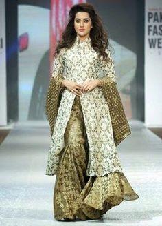 Zunaira's Lounge gold toned sharara with sherwani style coat - dreamy!  I dislike sharara, but I would love to wear this one