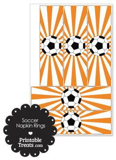 Orange Sunburst Soccer Party Napkin Rings from PrintableTreats.com