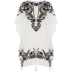 Star Mela Embroidered Cotton Tunic Dress ($260) ❤ liked on Polyvore featuring dresses, white, embellished dress, white summer dresses, white embroidered dress, white loose dress and sleeve dress