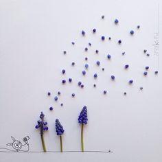 Little Monster and Flowers by Kerstin Hiestermann, Letter Covers Minimal Photo, Pressed Flower Art, Art Corner, Creative Artwork, Little Monsters, Heart Art, Whimsical Art, Art Plastique, Diy Painting