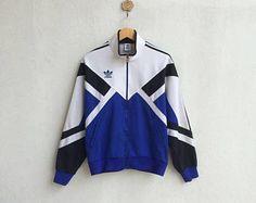Vintage años 90 Adidas Trainer cremallera chaqueta bordado pequeño Logo  diseño agradable Sudaderas 28bd0c00e4e