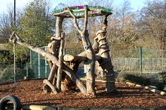 Natural Climbing Structures challenge children's abilities in an exciting and open-ended way using natural materials, as well as supporting the development of communication and cooperation skills. Description from infiniteplaygrounds.co.uk. I searched for this on bing.com/images