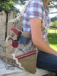 Super cute easy to sew bag  Melissa Handbag - Burlap Potato Sack, free sewing pattern