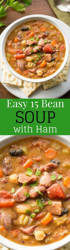 15 Bean Soup with Ham and Vegetables - a hearty, stick-to-your-ribs kind of soup loaded with heart healthy beans, fresh onions, diced tomatoes, celery, carrots and plenty of spices. This soup freezes beautifully! www.savingdessert.com