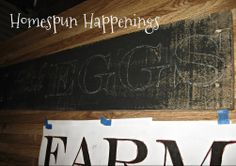 Homespun Happenings: Making Vintage Signs with White (pallet board, paint, tracing technique with computer font, sharpie/paint pens)