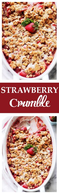 Strawberry Crumble - Light, warm and nutty dessert combined with sweet strawberries and a crisp crumble topping. Get the recipe on diethood.com