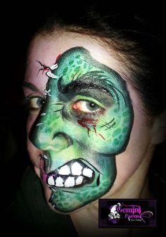 quick monster face paint design