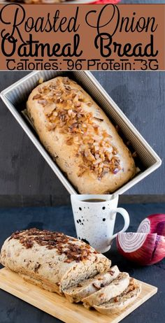 This Roasted Onion Oatmeal Bread is made with the flavor of real onions and whole grain. Its easy and yet flavorful. It pairs well with salad, pasta, soup. Easy Bread Recipes, Lunch Recipes, Delicious Recipes, Whole Food Recipes, Vegan Recipes, Healthy Breads, Healthy Oatmeal Recipes, Vegan Junk Food, Vegan Comfort Food