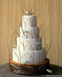 Birch twigs circle this wedding cake to match a spring or garden wedding theme