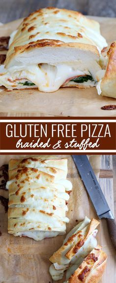 """The perfect gluten free pizza crust, stuffed full of spinach, pepperoni and, of course, plenty of cheese. This pizza dough handles so beautifully and tastes so authentic, you won't believe it's gluten free! <a href=""""http://glutenfreeonashoestring.com/braided-stuffed-gluten-free-pizza/"""" rel=""""nofollow"""" target=""""_blank"""">glutenfreeonashoe...</a>"""
