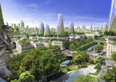 """2050 Paris Smart City by Vincent Callebaut Architectures. Paris Smart City"""" is a research and development project for Paris Green Architecture, Futuristic Architecture, Creative Architecture, Future City, Vincent Callebaut, Eco City, Grand Paris, Urban Fabric, Futuristic City"""