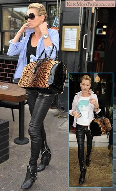 black leather pants and boots on kate moss