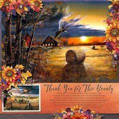 THANK YOU FOR THIS BOUNTY - TEMPLATE: Double the Fun #2 by Heartstrings Scrap Art https://www.digitalscrapbookingstudio.com/personal-use/templates/double-the-fun-2/ KIT: Harvest Sunset { Bundle } by The Urban Fairy  https://www.digitalscrapbookingstudio.com/digital-art/bundled-deals/harvest-sunset-bundle-31994/ *additional flowers from Rainbow Bright { Flowers } by The Urban Fairy https://www.digitalscrapbookingstudio.com/personal-use/element-packs/rainbow-bright-flowers/