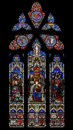Coronation of Henry III stained glass window, Gloucester Cathedral, Gloucester, England Stained Glass Art, Stained Glass Windows, Gloucester Cathedral, Cathedral City, Plantagenet, Glass Pumpkins, Church Design, Glass Boxes, Knights Templar