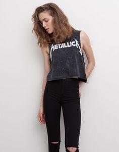 Pull&Bear - femme - t-shirts et tops - top crop metallica - noir délavé - 05242354-V2015