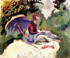 After Lunch / circa 1905-1906. Raoul Dufy was a French Fauvist painter. He developed a colorful, decorative style that became fashionable for designs of ceramics and textiles, as well as decorative schemes for public buildings. He is noted for scenes of open-air social events.