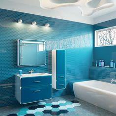 meuble salle de bain moderne en blanc et bleu, carrelage mural en carreaux hexagonaux, carrelage sol assorti et faux plafond moderne