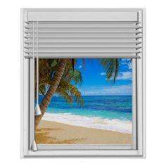 Tropical Beach Ocean View Fake Window With Blinds Poster - office decor custom cyo diy creative