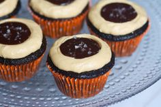 Dark Chocolate Salted Caramel Cupcakes | The Baker Chick