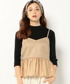 フリルがかわいいキャミソールでフェミニンに♡秋冬ファッションにも使えるキャミソールコーデ♡