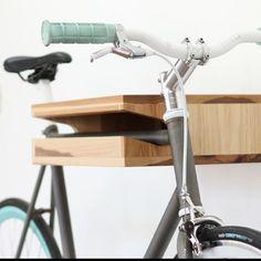 knife and saw wood bike shelf