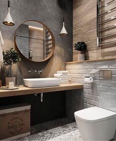 If you want to have an industrial bathroom the key factor is to take the edge of the harsh industrial look. Bathroom design Creating A Convenient Industrial Bathroom - House Topics Design Loft, Home Design, Design Ideas, Bath Design, Wc Design, Design Trends, Design Color, Modern Design, Design Inspiration