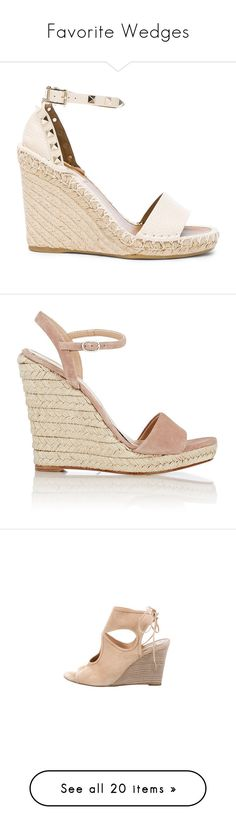 """""""Favorite Wedges"""" by gracebeckett ❤ liked on Polyvore featuring shoes, sandals, wedges, heels, sapatos, wedge heel shoes, platform espadrilles, espadrille sandals, leather platform sandals and wedge heel sandals"""