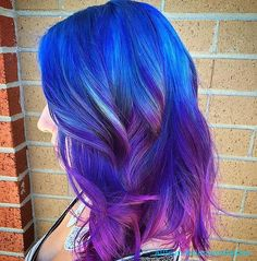 blue navy purple pink galaxy rainbow mermaid unicorn hair